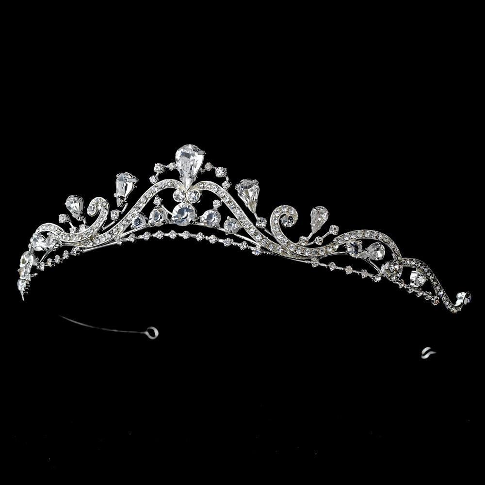 Lovely Silver, Swirl Crystal Bridal Tiara - La Bella Bridal Accessories