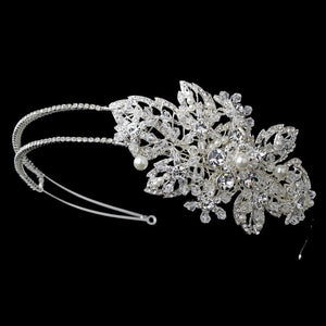 Marvelous Silver Austrian Crystal & Ivory Pearl Side Accented Bridal Headband - La Bella Bridal Accessories