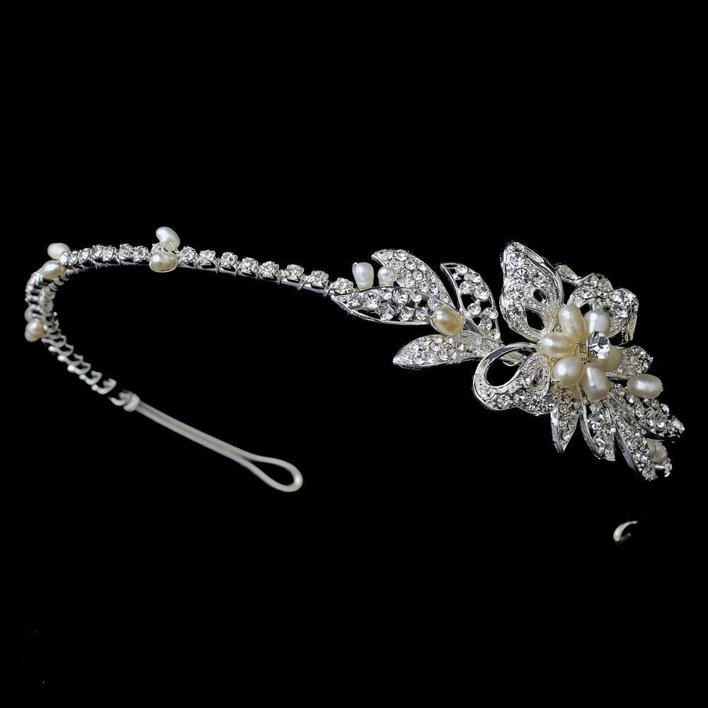 Silver Plated Crystal Headband - La Bella Bridal Accessories