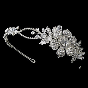 Charming Silver Side Accented Flower Headpiece w/ Crystals & Austrian Crystals - La Bella Bridal Accessories