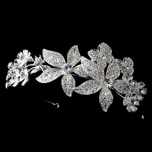 Silver Crystal Butterfly Tiara Headpiece - La Bella Bridal Accessories