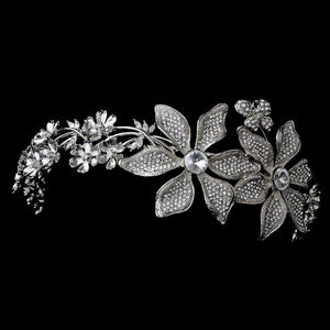 Whimsical Antique Silver Side Accented Flower & Butterfly Headpiece - La Bella Bridal Accessories
