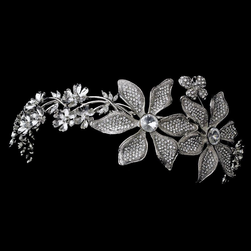 Whimsical Antique Silver Side Accented Flower & Butterfly Headpiece, Wedding Headpiece, Bridal headpieces