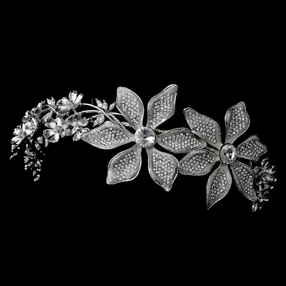 Immaculate Antique Silver Side Accented Flower Headpiece - La Bella Bridal Accessories