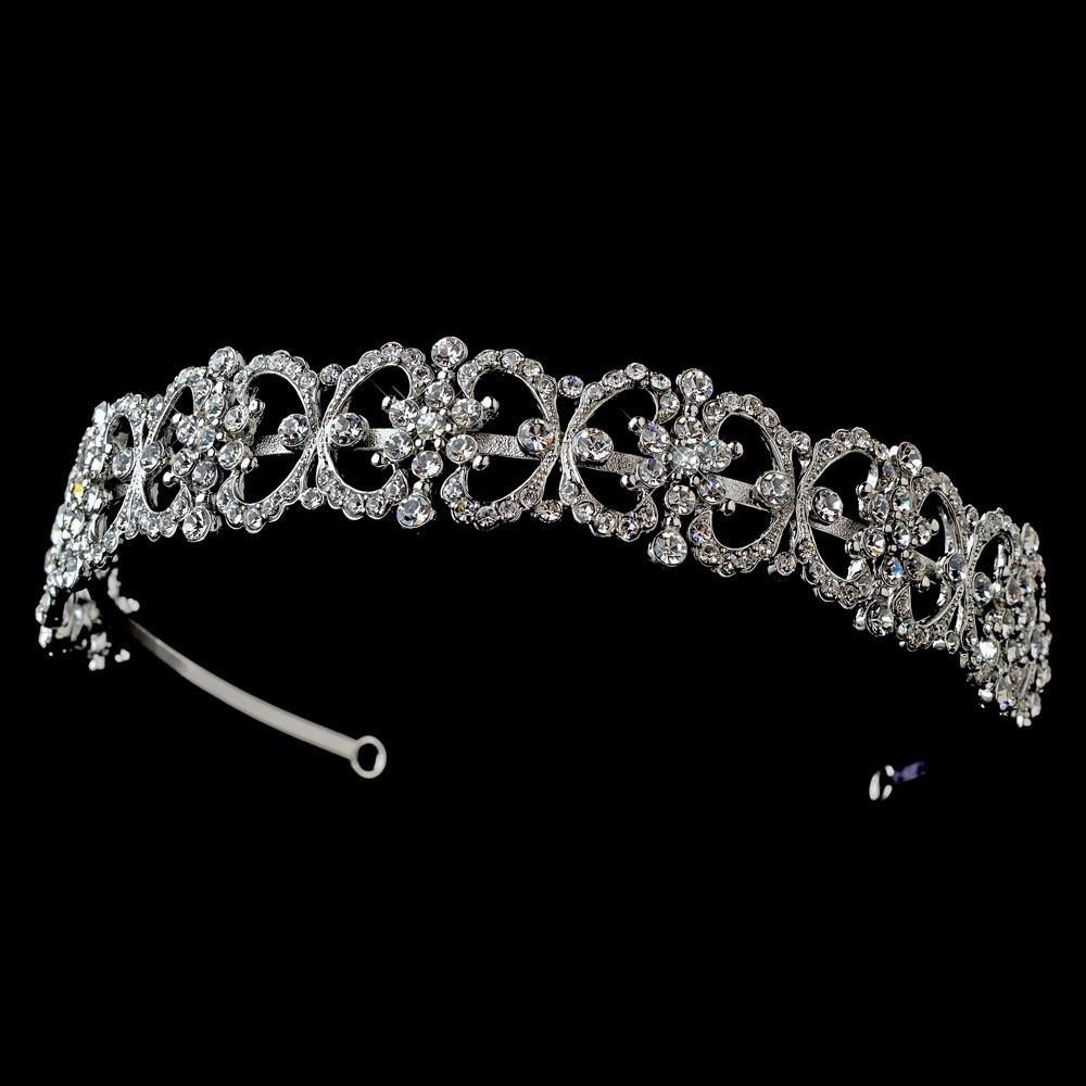 Antique Silver Crystal Headband Headpiece - La Bella Bridal Accessories