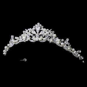 Silver White Pearl Floral Bridal Tiara Headpiece - La Bella Bridal Accessories