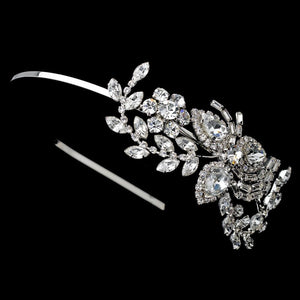 Gorgeous Crystal Floral Silver Plated Bridal Headband - La Bella Bridal Accessories