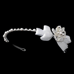 Children's White or Ivory Flower Bow Headband - La Bella Bridal Accessories