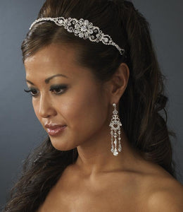 Silver Plated Crystal Bridal Headband - La Bella Bridal Accessories