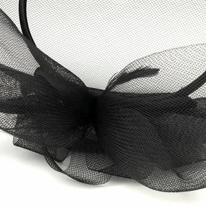 Black Wedding Hat Headband w/ Cage - La Bella Bridal Accessories