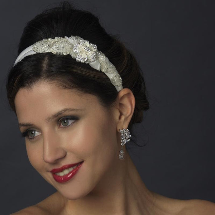Crystal Double Side Accented Floral Headband - La Bella Bridal Accessories