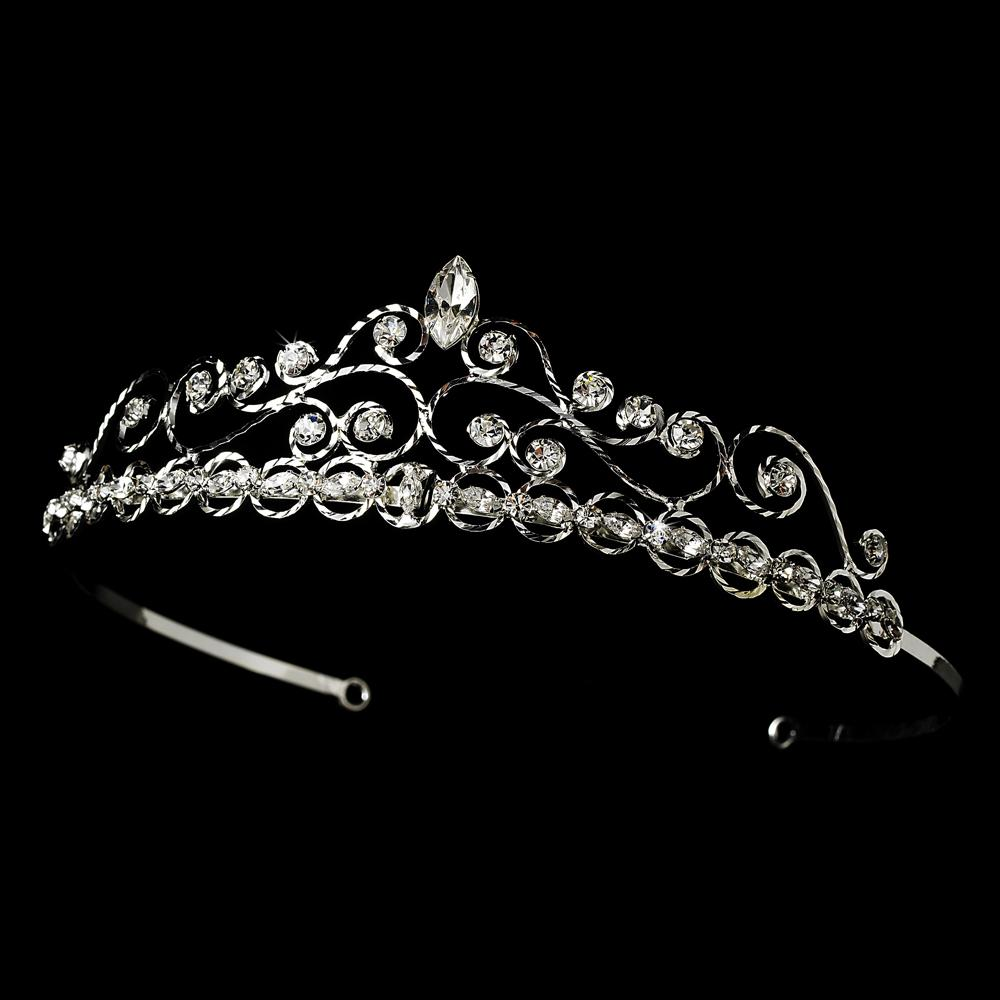 Pretty Silver Plated Crystal Bridal Tiara - La Bella Bridal Accessories