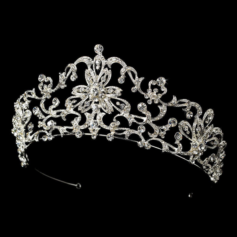 Gorgeous Royal Inspired Silver Crystal Bridal Tiara Crown - La Bella Bridal Accessories