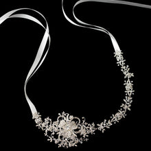 Floral Crystal Ribbon Headband - La Bella Bridal Accessories