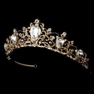 Antique Style Silver Tiara Headpiece - La Bella Bridal Accessories
