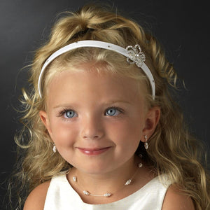 Child's Satin Crystal Floral Headband - La Bella Bridal Accessories