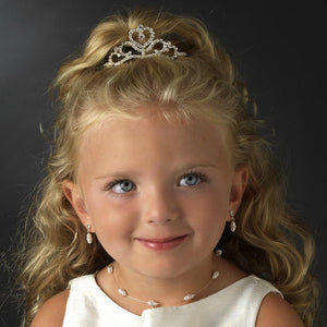 Silver Heart Child'sTiara - La Bella Bridal Accessories