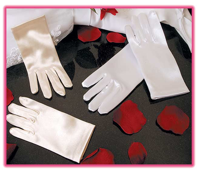 Child's Satin Wrist Length Gloves - La Bella Bridal Accessories