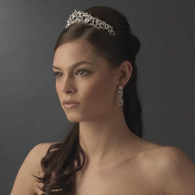 Elegant Silver Princess Crystal Bridal Tiara - La Bella Bridal Accessories