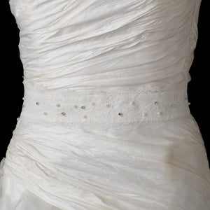 Pearls & Crystals on Embroidered Lace Wedding Sash