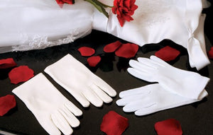 Children's Matte Satin Wrist Length Gloves - La Bella Bridal Accessories