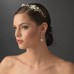 Antique Silver Ivory Bridal Headband with Flower Accents - La Bella Bridal Accessories