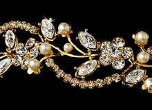 Crystal and Pearl Gold Bridal Headband - La Bella Bridal Accessories