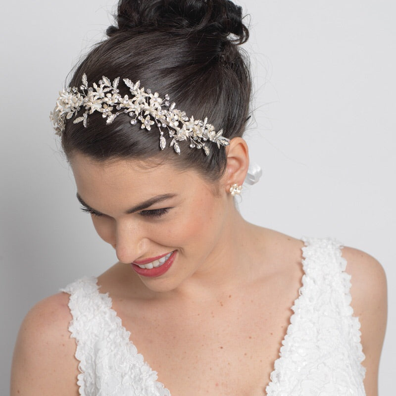 Vintage Silver Crystal Tiara Vine Headpiece - La Bella Bridal Accessories
