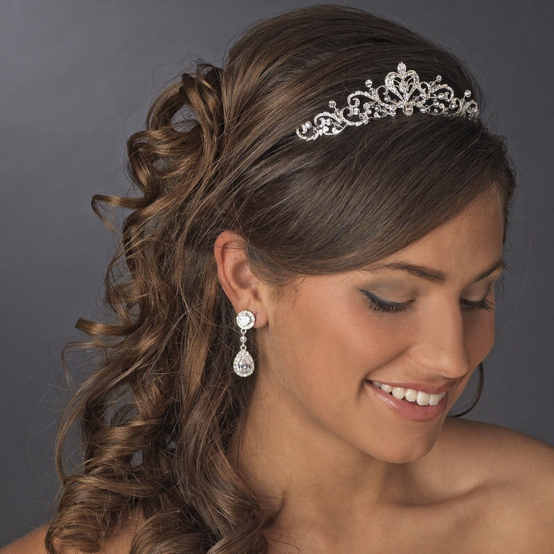 Darling Silver Crystal Bridal or Childs Tiara - La Bella Bridal Accessories