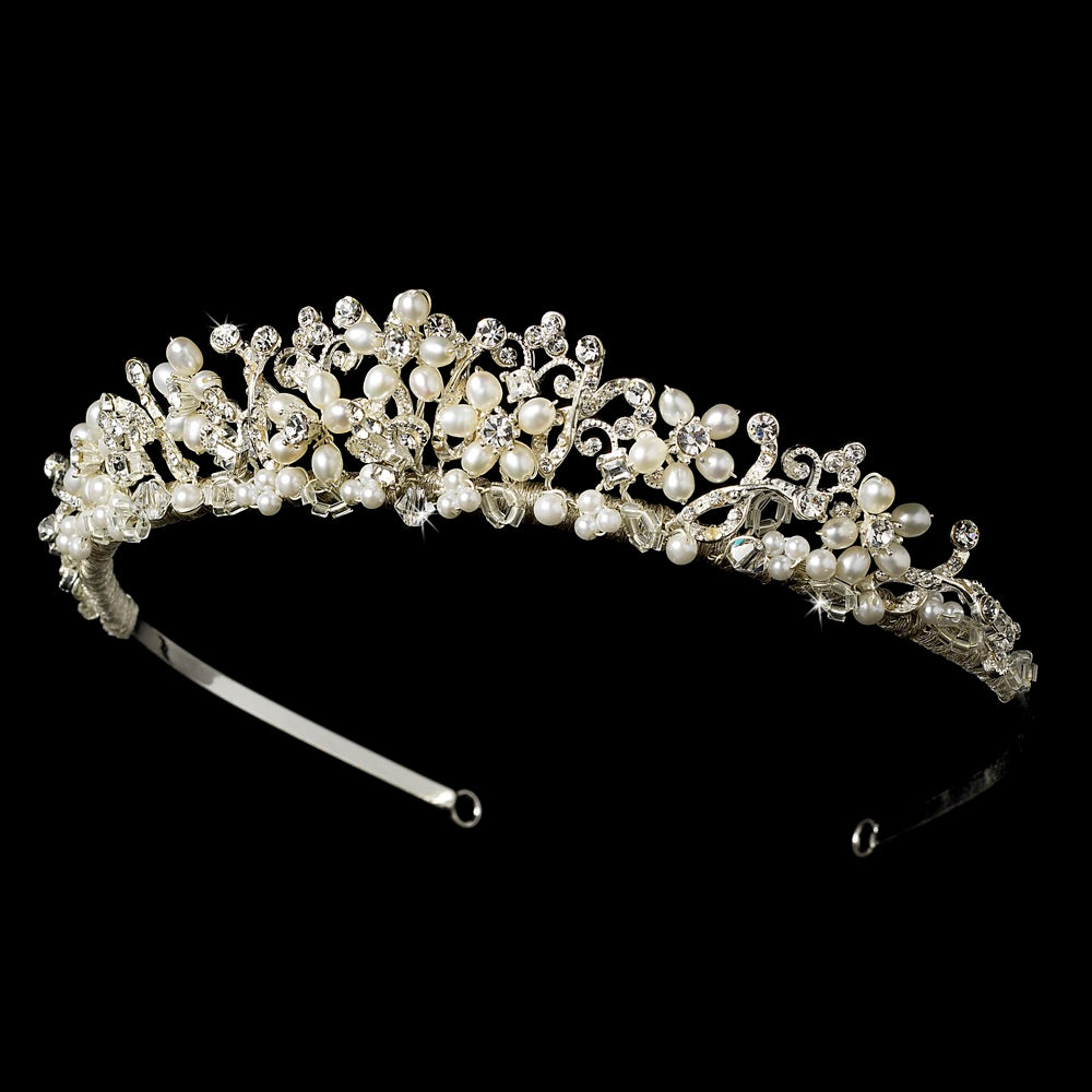 Freshwater Pearl & Crystal Floral Bridal Tiara - La Bella Bridal Accessories