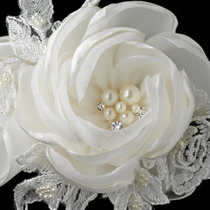 Satin Lace, Silk Roses, Pearls and Crystal Accents Hair Clip - La Bella Bridal Accessories