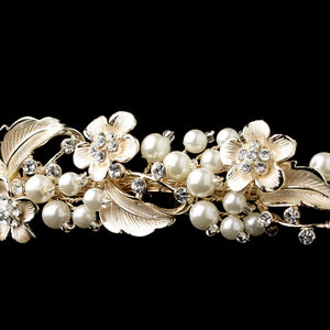 Light Gold Ivory Pearl & Crystal Floral Headband