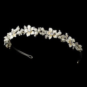 Lt Amber Blush Pearl  Crystal Headband - La Bella Bridal Accessories
