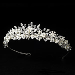 Light Pale Gold Pink or Silver Ivory Floral Bridal Tiara - La Bella Bridal Accessories