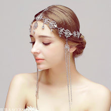 Romantic Forehead Headpiece with Crystals, Tassels and Dangles - La Bella Bridal Accessories