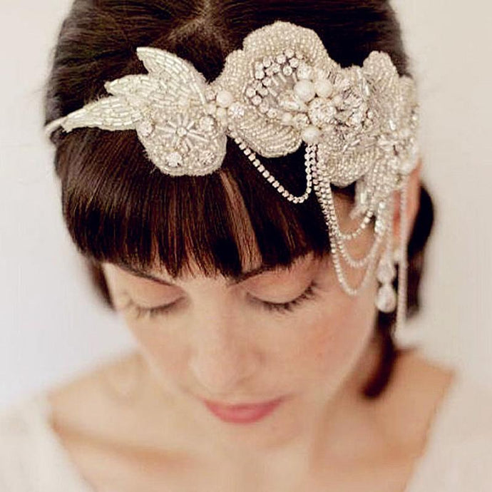 Vintage Inspired Pearl & Crystal Encrusted Beaded Wedding Ribbon Headpiece - La Bella Bridal Accessories