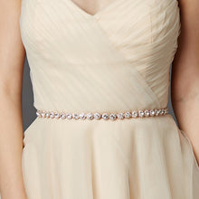 Gorgeous Slender Silver Crystal Linked Bridal Belt - La Bella Bridal Accessories
