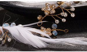 Crystal Feather & Gold Bead Bridal Hair Vine - La Bella Bridal Accessories
