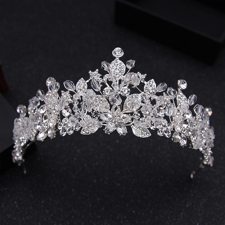 Gorgeous Crystal Floral Bridal Tiara Crown - La Bella Bridal Accessories