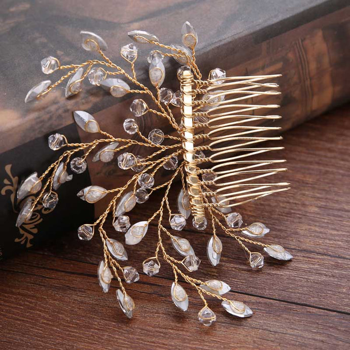Vintage Crystal Pearl Bridal Hair comb - La Bella Bridal Accessories