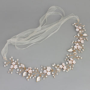 Gorgeous Handmade Crystal, Pearl & Floral Bridal Hair Vine - La Bella Bridal Accessories