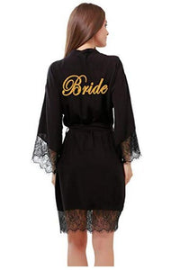 "Soft Cotton Bridal Robes With long Lace Trim with Gold ""Bride"" - La Bella Bridal Accessories"