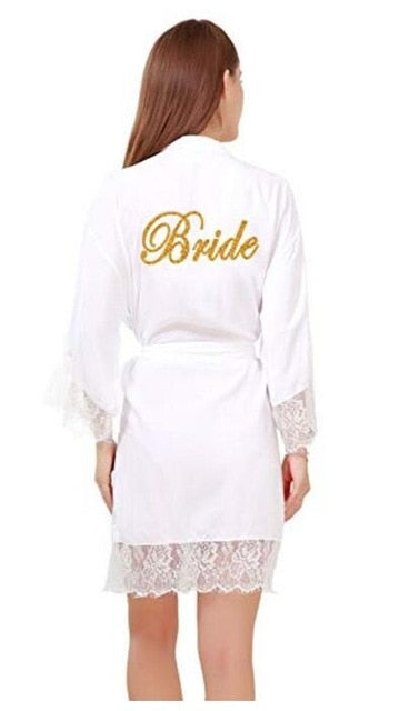Soft Cotton Bridal Robes With long Lace Trim with Gold