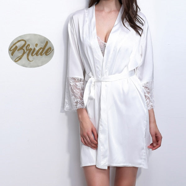 Pretty Satin and Lace Kimono Bridal Robes with Gold Glitter