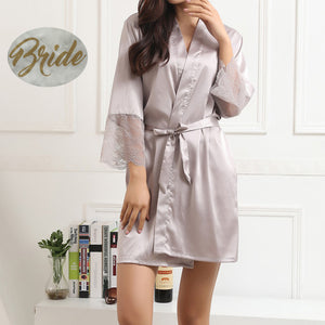 Gray bridal robe,bridal robes,white bridal robe,bridal robe,bridal party robes,wedding robes,wedding robe,silk robe,satin robe,lace robe, bridesmaid robe,bridesmaid robes
