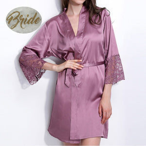 "Pretty Satin and Lace Kimono Bridal Robes with Gold Glitter ""Bride"" - La Bella Bridal Accessories"