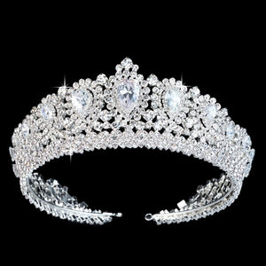 Gorgeous Royal Crystal Zircon Bridal Full Circle Tiara - La Bella Bridal Accessories