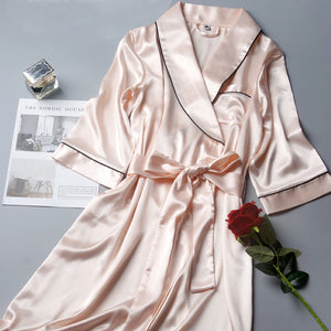 Silky Satin Kimono Robe for Bride, Bridesmaid, or an Robe  Bath Nightgown Robe Large