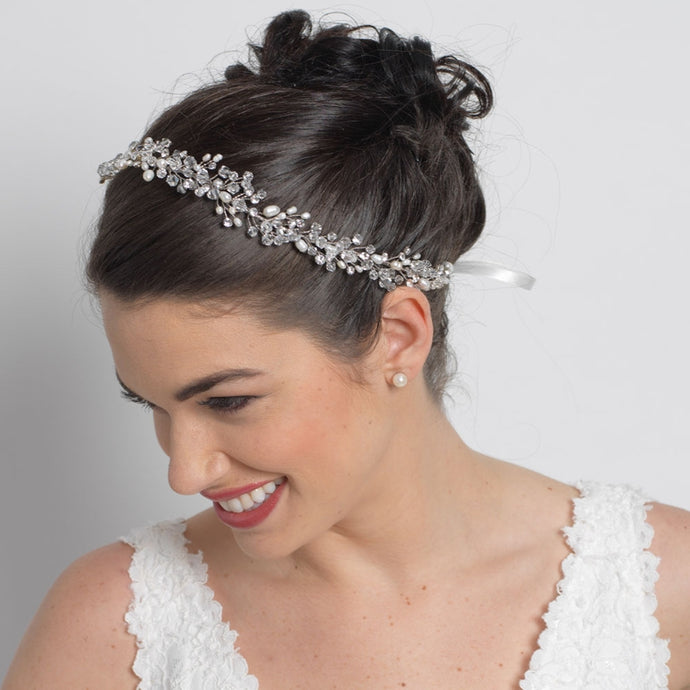 Stunning and Romantic Freshwater Pearl Crystal Hair Vine - La Bella Bridal Accessories