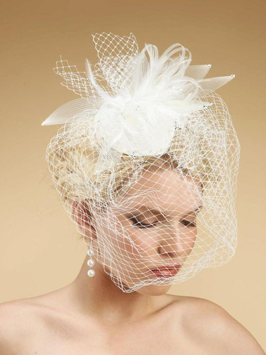 Birdcage Veil Hat with Feathers - La Bella Bridal Accessories